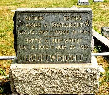 Abner Stanfield Bootwright and Hattie Anderson Gravestone
