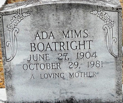 Ada Mims Boatright Gravestone