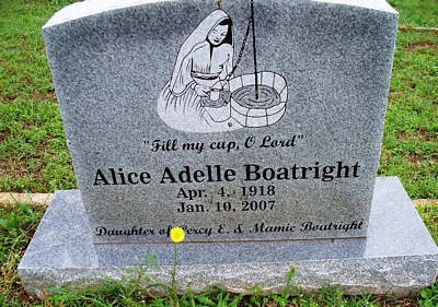 Alice Adelle Boatright Gravestone: