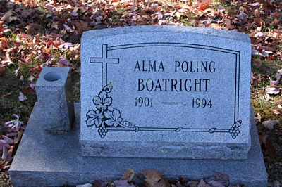 Alma Poling Boatright Gravestone