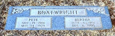 Audie Hayden and Bertha Nichol Shultz Boatwright Gravestone