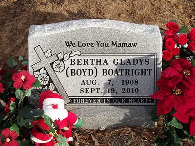 Bertha Gladys Boyd Boatright Gravestone