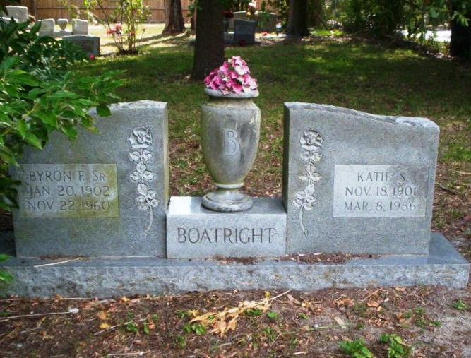 Byron Fletcher Boatright and Kate Jane Sutton Gravestone