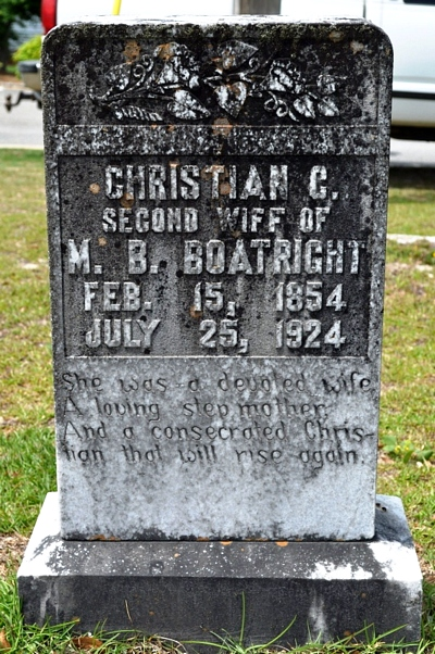 Christine Charity Wilkes Boatright Gravestone: