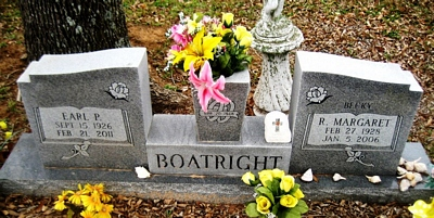 Earl Padgett and Rebecca Margaret Scogin Boatright Gravestone