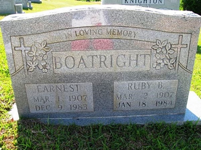 Earnest and Ruby Boatright Gravestone