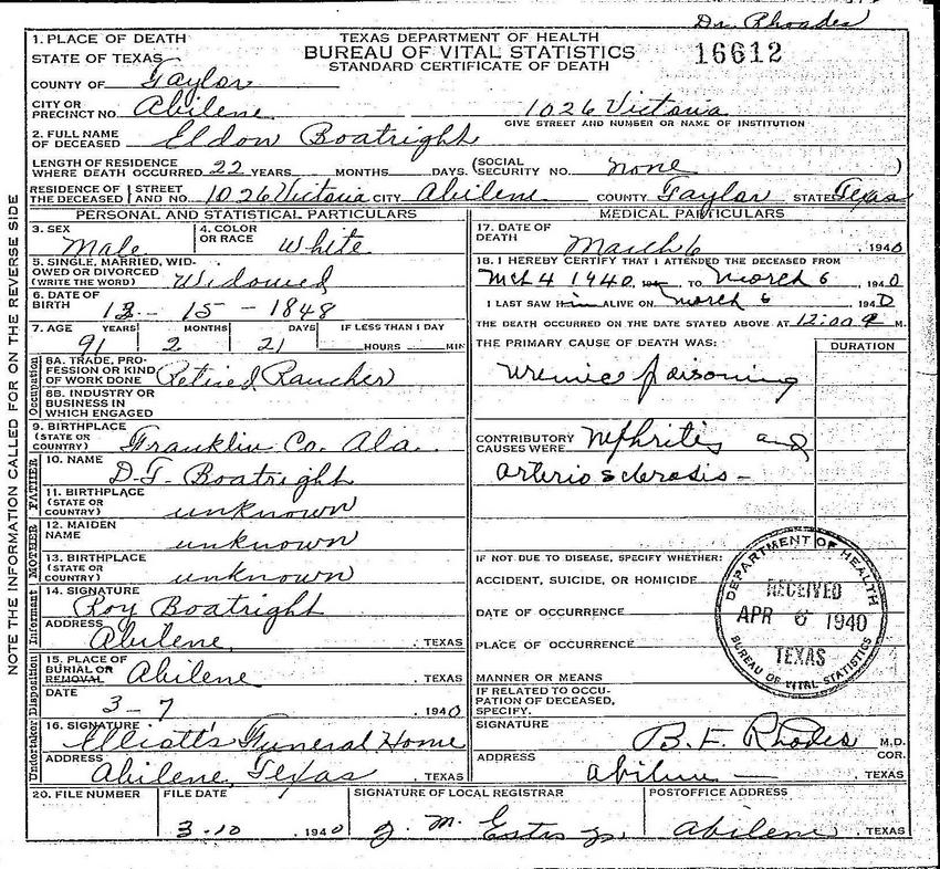 Eldon Boatright Death Certificate