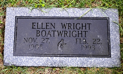 Ellen Wright Boatwright Gravestone