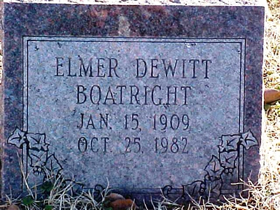 Elmer Dewitt Boatright Gravestone