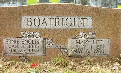 Ernie English and Mary Lee Birdsong Boatright Gravestone