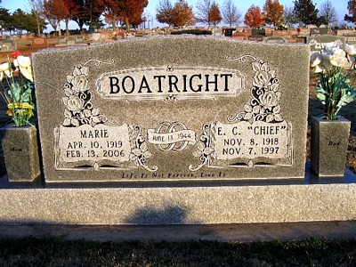 Eulas Carl and Florine Marie Kruger Boatright Gravestone