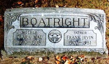 Frank Irvin and Clara Mae Boatright Gravestone
