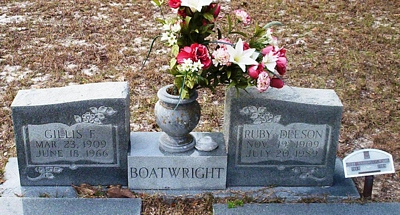 Gillis Fletcher and Ruby Lee Boatwright Gravestone