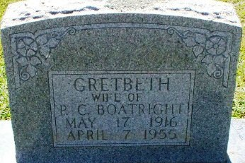 Lula Gretbeth Bushmeir Boatright Gravestone