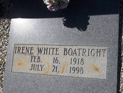 Irene White Boatright Gravestone