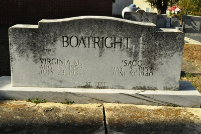 Isaac S. and Virginia Moore Boatright Gravestone