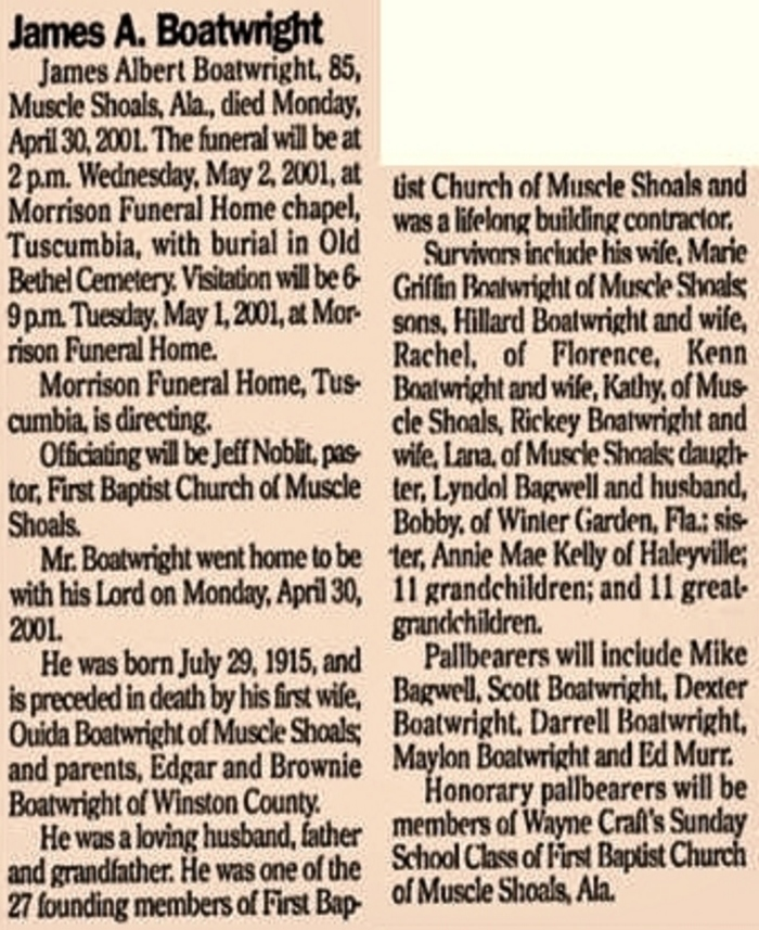 James Albert Boatwright Obit