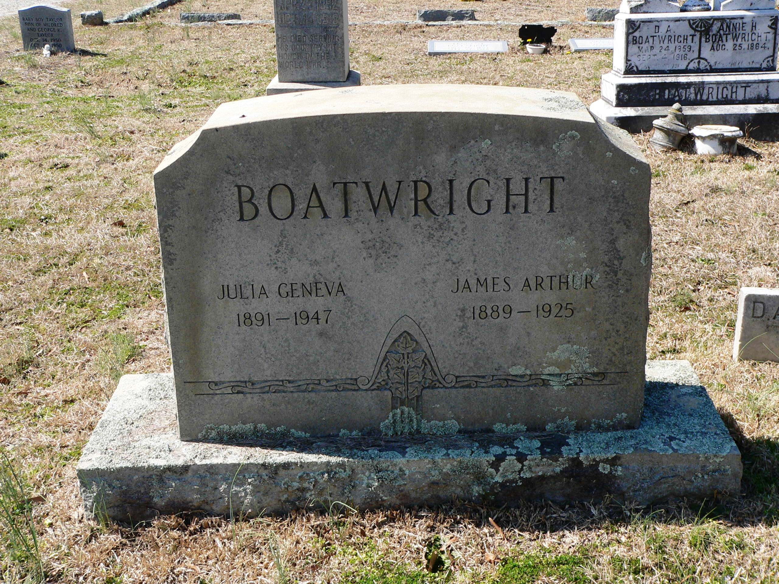 James Arthur and Julia Geneva Whittle Boatwright Gravestone