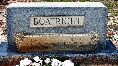 James Grover and Ida Pearl Bachelor Boatright Gravestone