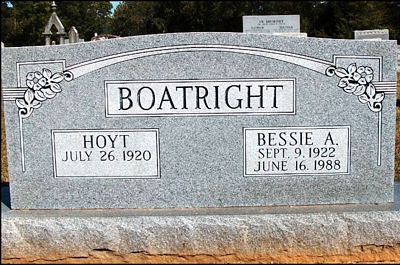 James Hoyt and Bessie Anne Mitchell Boatright Gravestone