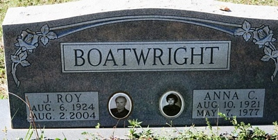 James Roy and Anna C. Cargonia Boatwright Gravestone: