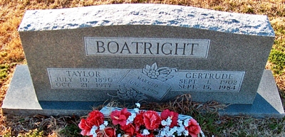 James Taylor and Nora Gertrude Slate Boatright Gravestone: