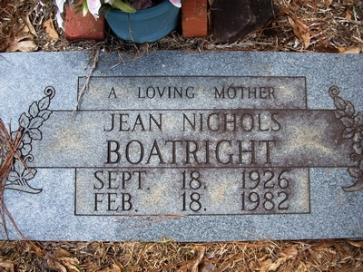 Willie Jean Nichols Boatright Gravestone