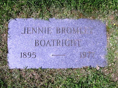 Jennie Rebecca Bromley Boatright Gravestone