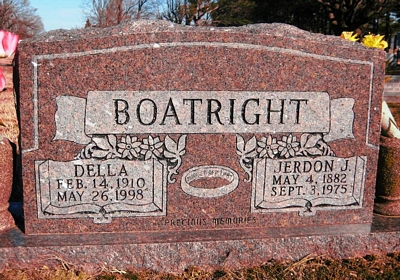 Jerdan Jones and Della Byrd Boatright Gravestone