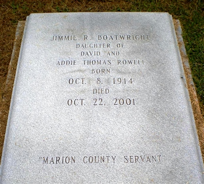 Jimmie Rowell Boatwright Gravestone