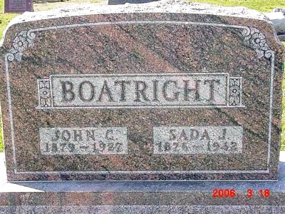 John Clayburn and Sada Jane Hatch Boatright Gravestone
