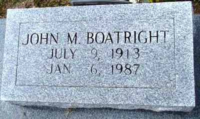John Marion Boatright Gravestone