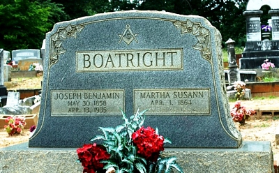 Joseph Benjamin and Martha Susan Williams Boatright Gravestone