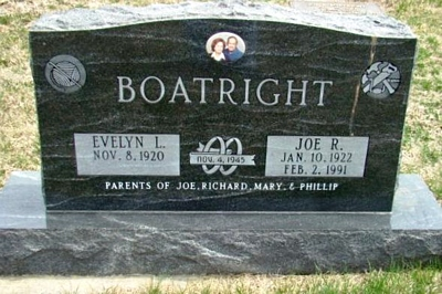 Joseph Ryon and Evelyn Lincoln Boatright Gravestone: