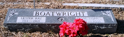 Lester Ray and Evvie Mae Norris Boatwright Gravestone