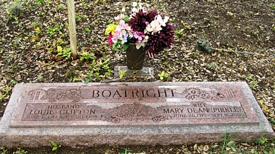 Louie Clifton and Mary Dean Pirkle Boatright Gravestone