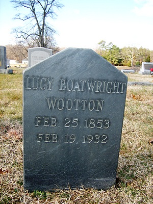 Lucy Jane Boatwright Wootton Gravestone