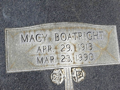 Macy Steedley Boatright Gravestone