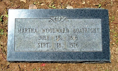 Martha Isabell Woodward Boatright Marker