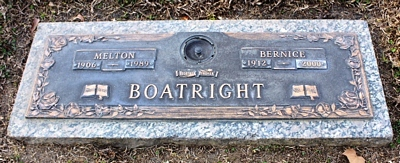 Melton and Bernice Denmark Boatright Gravestone