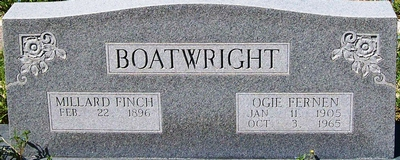Millard Finch and Ogie Fernen Shaffer Boatwright Gravestone