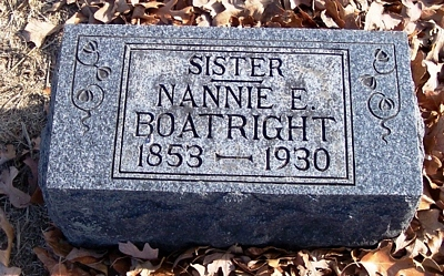 Nannie E. Oldham Boatright Gravestone:
