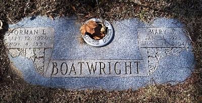 Norman Earl and Mary Jean Boatwright Gravestone