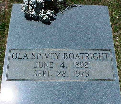 Ola A. Spivey Boatright Gravestone