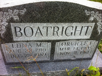 Orville Franklin and Edna M. McConnell Boatright Gravestone