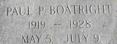 Paul P. Boatright Gravestone