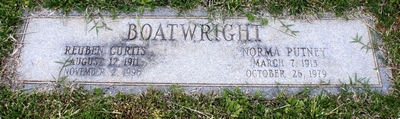 Reuben Curtis and Norma Gertrude Putney Boatwright Gravestone