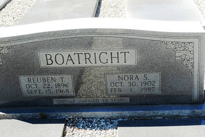 Reuben Thomas and Nora Smith Boatright Gravestone