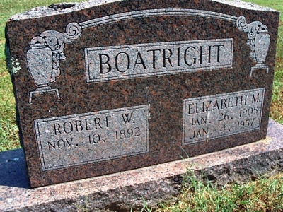 Robert Wesley and Elizabeth M. Boatright Gravestone