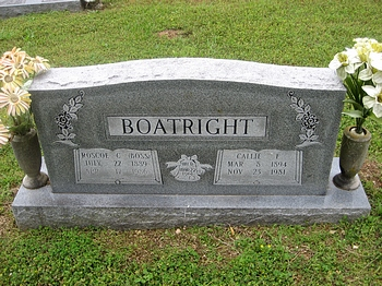 Roscoe Cocklin Boss and Caroline Callie Blacksher Boatright Gravestone